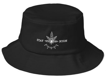 b69fcb74d325f Pot Leaf Black Bucket Hat