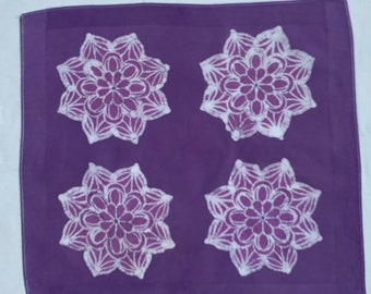 Batik Tie Dye Mandala purple /& white handkerchief