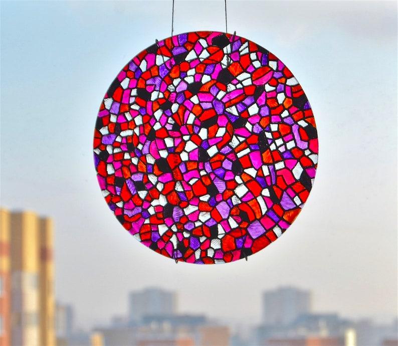 Sun catcher round pink and purple glass Mosaic window hanging