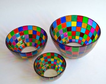 Set of three bowls - Glass bowl - Fruit bowl - Decorative bowl - Serving bowl rainbow