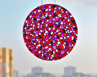 Sun catcher - stained glass panel - stained glass window - mosaic art - light catcher - sun ornament