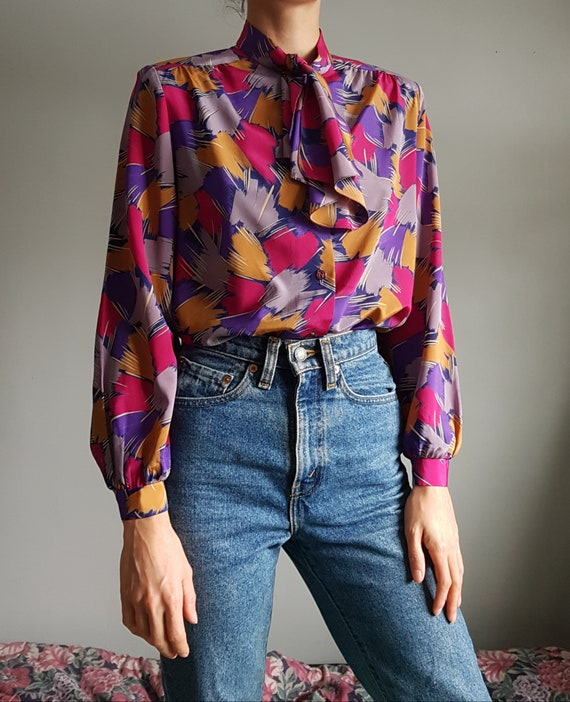 Vintage 1970s Psychedelic Blouse - Small