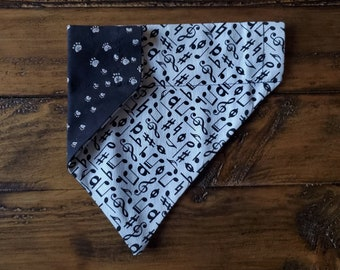 CLEARANCE PRICED Music Notes on Black Dog Scarf Over the Collar Dog Bandana