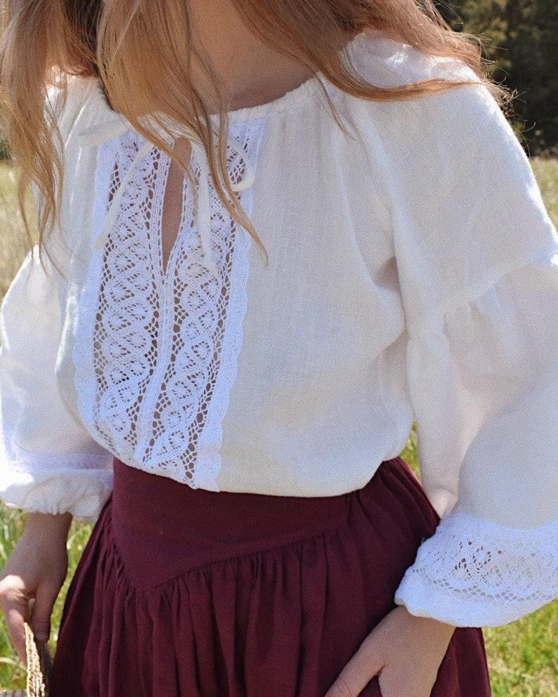 "1900 -1910s Edwardian Fashion, Clothing & Costumes Linen Blouse- ""Lily"" Milk White Linen Blouse with Cotton Lace $134.95 AT vintagedancer.com"