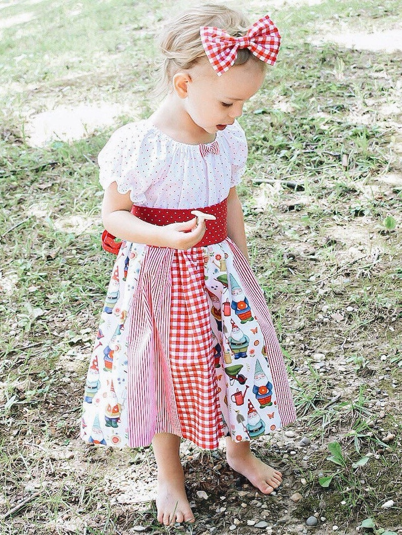 Prairie Dress- Garden Gnomes Cottage Dress Patchwork Peasant Dress Premium Cotton Dress Toddler Girl Dress Baby Girl Dress