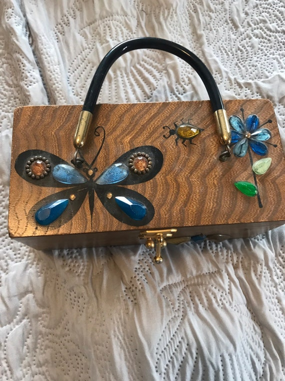 Vintage Enid Collins Glitterbugs wooden purse