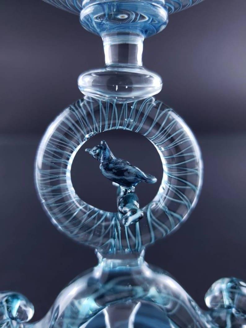 Bird sparkle Encircled Laurel Brilliant Blue Aventurine Filigrana Goblet