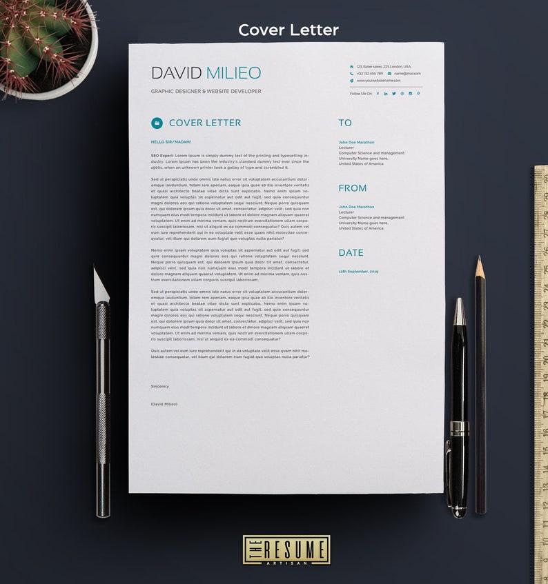 Modern Creative Resume TemplateCV Cover Letter for MS WordJob Seekers ResumeMS WordInstant Digital DownloadProfessional Resume
