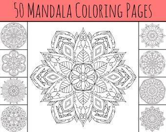 50 pages of Printable Mandala Coloring - svg, png, pdf digital download