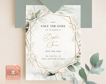 PDF Printable Floral Simple greenery Save The Date INSTANT DOWNLOAD Editable Template Affordable red 5x7 WD009 Flowers leaves