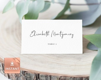 3.5x2 BLUSHING BRIDE DIY Printable Table Decor Personalized Wedding Name Place Cards Custom Calligraphy Place Cards