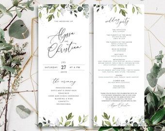 REESE - Boho Greenery Wedding Programs Template, Watercolor Eucalyptus Wedding Ceremony Fan, Bohemian Wedding Template, Instant Download