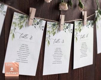 REESE - Seating Chart Cards, Seating Chart Wedding, Printable Seating Plan, Seating Template, Hanging Greenery Seating Board, Table Template