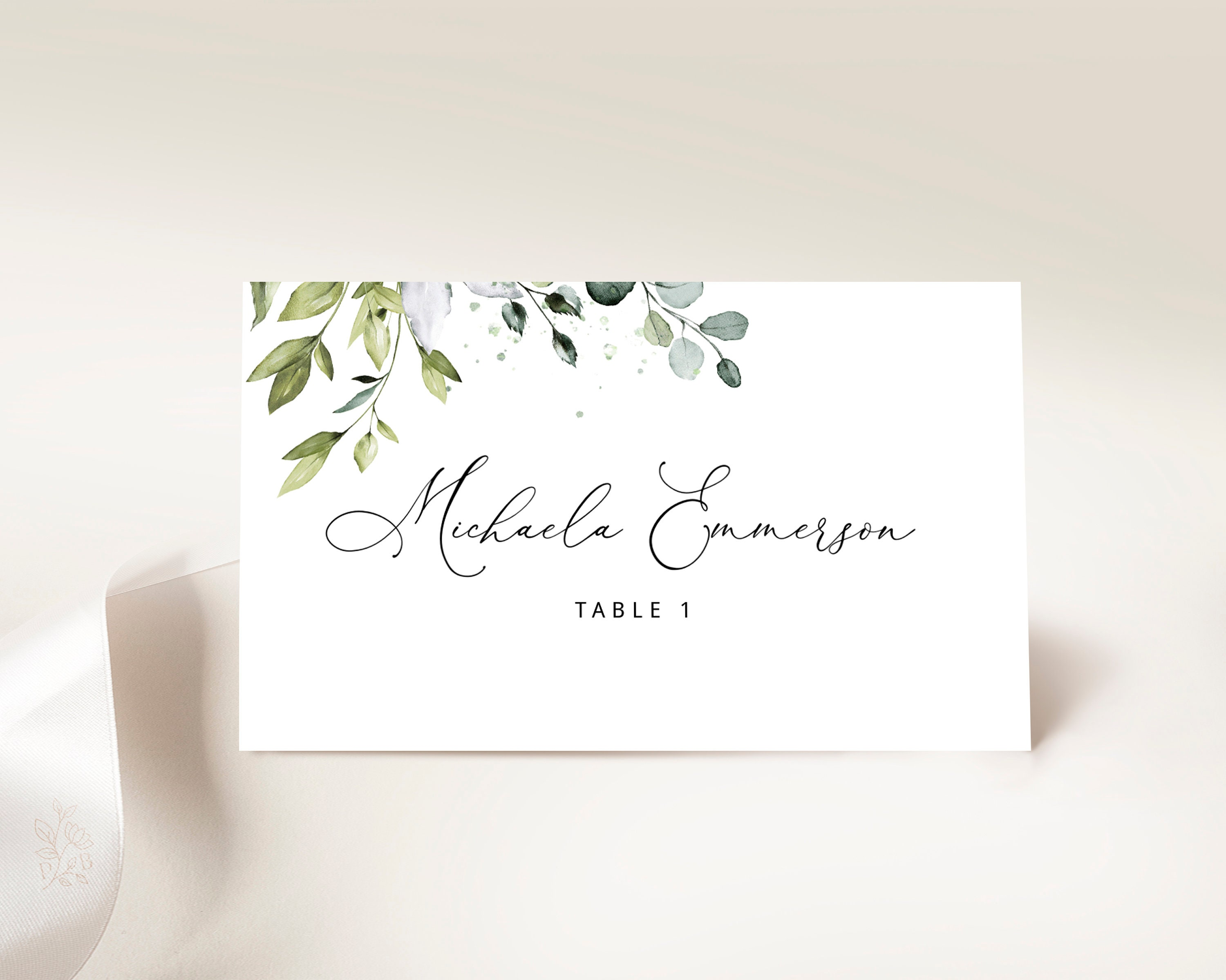 Editable Wedding Place Cards Template, Avery Wedding Name Cards, Greenery,  Instant Download, Eucalyptus, Printable Place Cards Rustic Boho Throughout Christmas Table Place Cards Template
