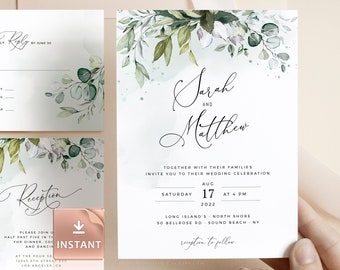 REESE - Greenery Wedding Invitation Template, Boho Eucalyptus Wedding Invite, Modern Wedding Template Suite, Instant Download