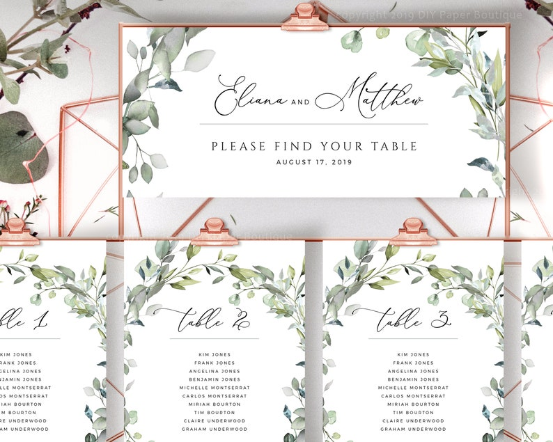 Find Your Table Wedding Seating Cards, Greenery Seating Board, Seat Order  Templates, Guest List Template, Printable Templett #037