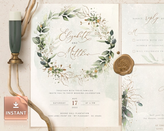 CLEO - Wedding Invitation Template, Boho Wedding Invite Template, Wedding  Invitation, Invitation Template Download, Faux Gold Invite