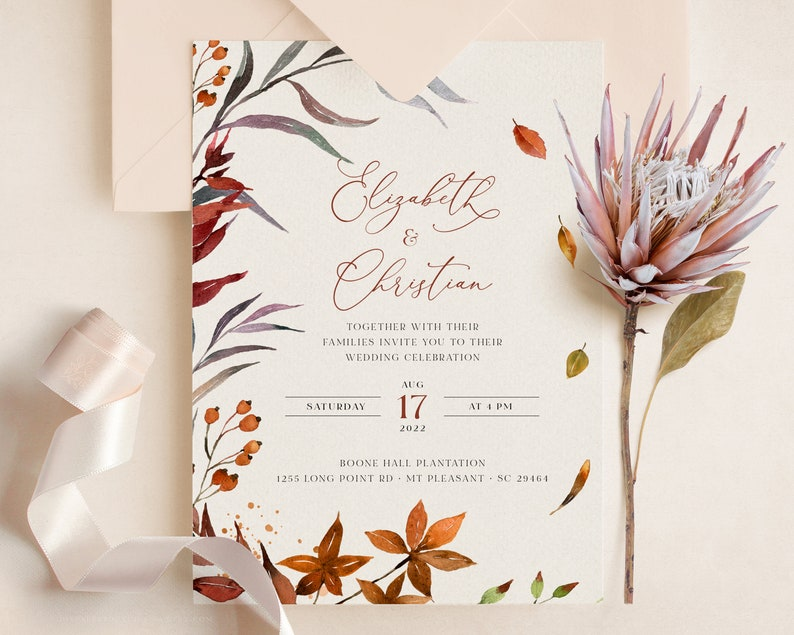 Hochzeitseinladung Herbst