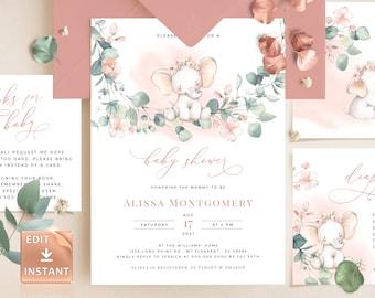JOY - Pink Girl Baby Shower Invitation Template, Watercolor Baby Elephant Girl, Printable Eucalyptus Baby Shower Invite, DIY Custom Editable