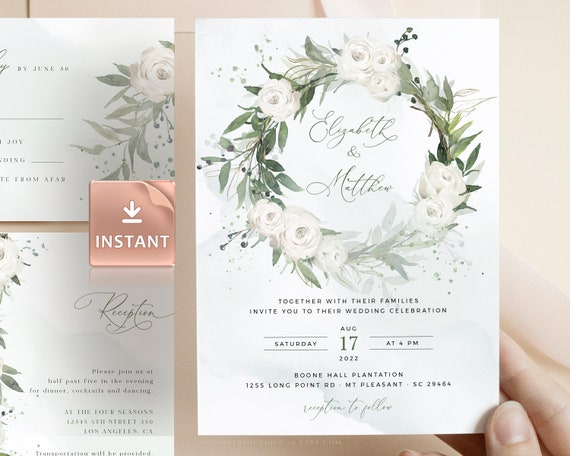 Greenery Invitation Roses Wedding Invitation Printable Greenery Wedding Invitation Eucalyptus Wedding Invite,Wedding Invitation Template