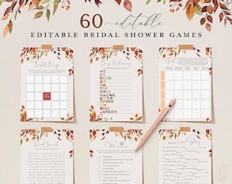 SIENNA - 60 Fall Bridal Shower Games, Burnt Orange, Editable Bridalshower Games Bundle, Instant Download, Wedding Printable Autumn Hen Party