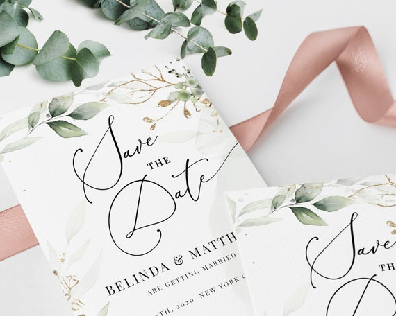 CLEO Printable Save the Date Card INSTANT DOWNLOAD Printable Editable Save the Date Template Bohemian Greenery with Eucalyptus and Gold