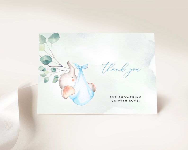 Baby Shower Thank You Insert Baby Shower Template Printable Eucalyptus Baby Shower DUKE Watercolor Baby Elephant Inserts for Boys