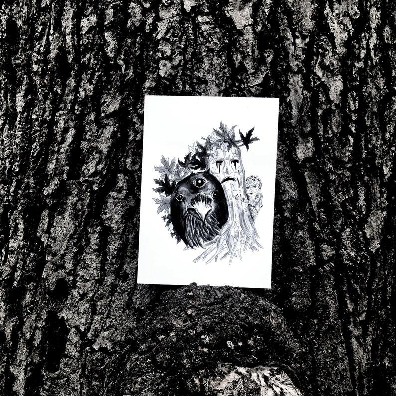 Three Eyed Raven Print Weirwood Tree Print Game of Thrones ...