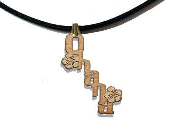 Ohana Wooden Necklace Pendant cute novelty adorable stitch lilo family scrump women men loyal bff silver gift present pet fashion jewellery