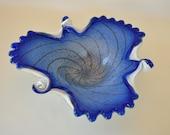 Fratelli Toso Cobalt Blue Cased Bowl, Midcentury Modern Shallow Murano Hand Blown Glass Bowl, Venetian Art Glass, Hand Blown Italian Glass
