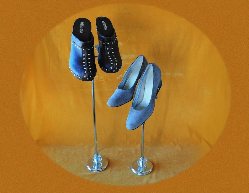 Adjustable Shoe Displays Rare Mid Mod Chrome 1950/'s Store Window Shoe Stands Cast Iron and Glass Retro Retail Shoe Walk In Closet Decor