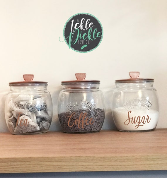 Clear Kilner Jar Canister Set Tea Coffee Sugar And Cookie Copper And Silver