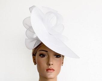 b0717e0b White fascinator, white races hat, derby fascinator hat, Royal Ascot hats, wedding  hat, luncheon hat, kentucky derby hat, occasion hat, hats