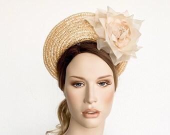 5f1b23ce Beige straw derby halo fascinator, bridal straw crown headband, halo crown  fascinator, beige halo crown with silk flowers