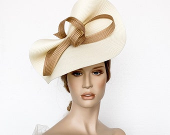 e58153399aea1 Cream and camel derby fascinator, gold ascot hat,Beige kentucky derby hat,  Ivory wedding hat, Gold ascot fascinator, womens races hats, bow