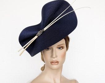 cream straw hat with pink frills  polka dot hat  cream fascinator  straw pillbox hat  wedding hat