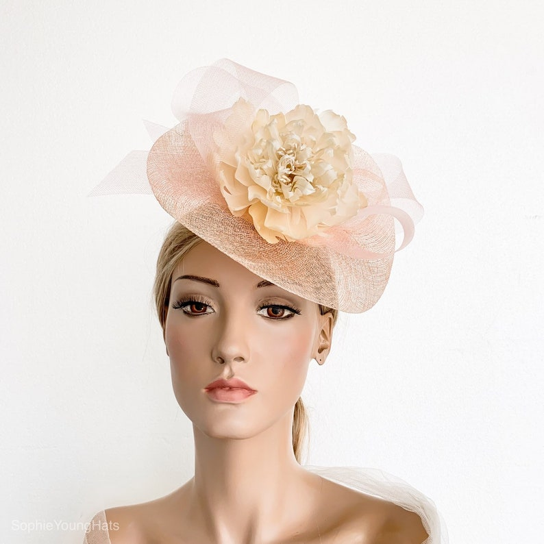 1b532359 Peach fascinator Peach pink Kentucky derby hat royal ascot | Etsy