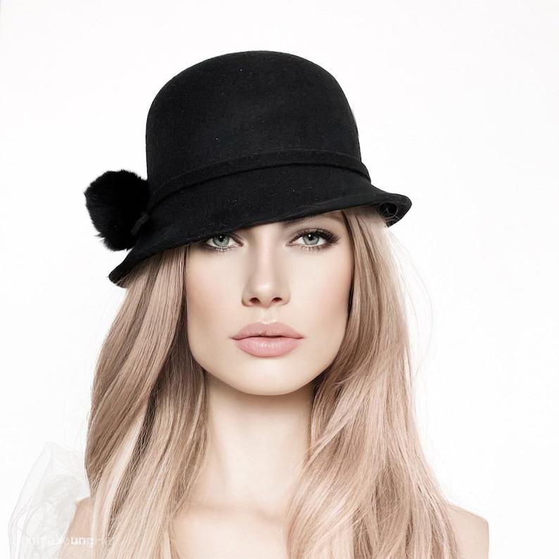 Winter Cloche Hat Asymmetric Brim Women Cloche 1920S -8217