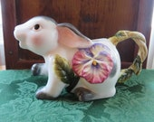 Easter Bunny Creamer - Small Ceramic Rabbit Pitcher - Bunny Rabbit With Pansy and Vine - Easter Decor - Pencil Holder - Planter - #864