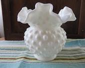 Fenton Hobnail White Milk Glass Vase