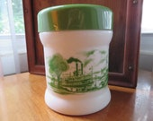 Milk Glass Canister - White With Green Steamboats - Green Lid - Multi Use - Cigar Humidor - Tea - Coffee - Cookies - Candy - Stash - 337