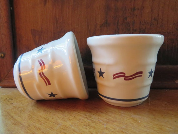 Longaberger Stars and Stripes Set of 2 Votives Woven Traditions All American