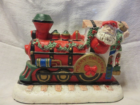 Christmas Train Cast.Santa Train Cast Iron Door Stop Collectible Metal Doorstop Cast Iron Santa Cast Iron Christmas Train Doorstop Santa Claus Doorstop