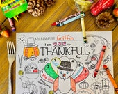 Kids Thanksgiving Placemat | I am Thankful For | Kids Table | Instant Download | Coloring Sheet