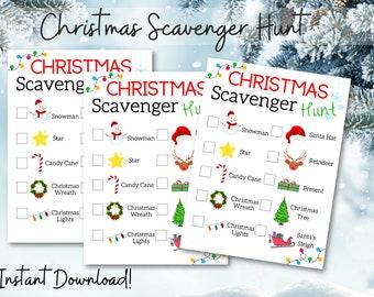 Christmas Scavenger Hunt | Kids Christmas Activity | Printable