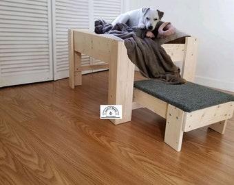 Average Size Wood Raised Elevated Dog Bed Platform with Step