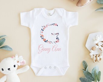 c638d90f5 Personalized Floral Baby Name Onesie® Girl - Custom Onesie® Girl - Flowers  Onesie® Girl - Baby Name Onesie® Girl