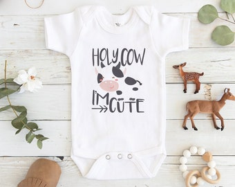 85f6bf8d9 Cow Baby Onesie® - Holy Cow baby Onesie® - Hipster Baby Onesie® - cute Baby  Onesie®- Funny Baby Onesie®