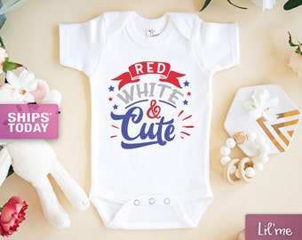 Red White and Cute Embroidered Bodysuit or TShirt