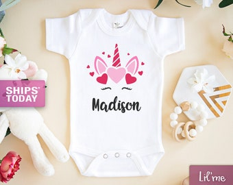 Cute Unicorn Birthday Outfit Monogram unicorn baby clothes Custom Baby Girl Onesie Unicorn baby shower gift Personalized Unicorn Onesie\u00ae